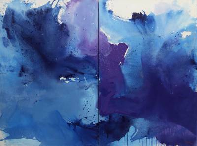 'Blankets Night' (diptych, 2017) - Set of Two Original Abstract Paintings in Blue from Java