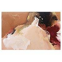 'Downfall' - Signed Abstract Painting in Warm Earth Tones