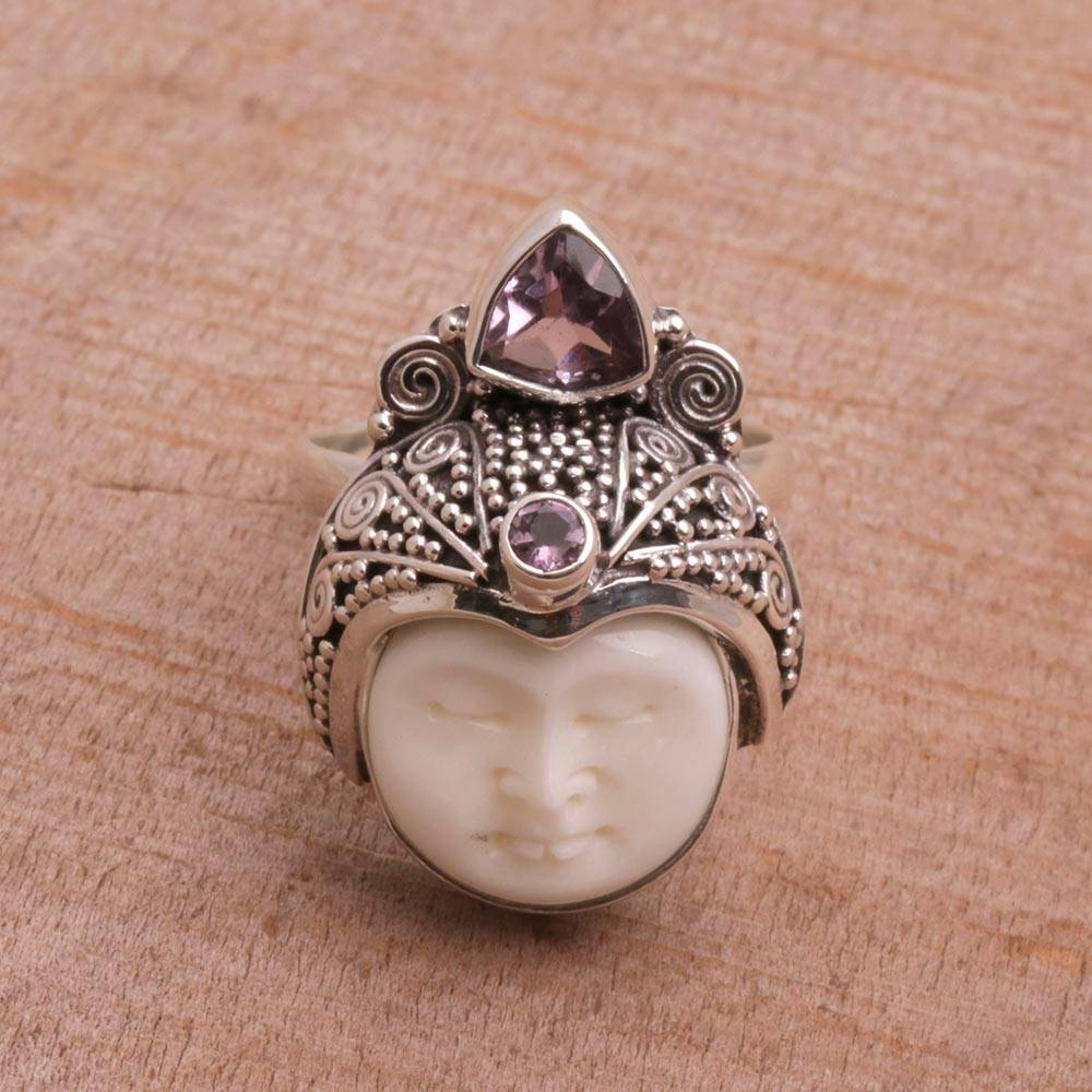 Carved Bone Cocktail Ring With Amethyst Gems White Knight Novica