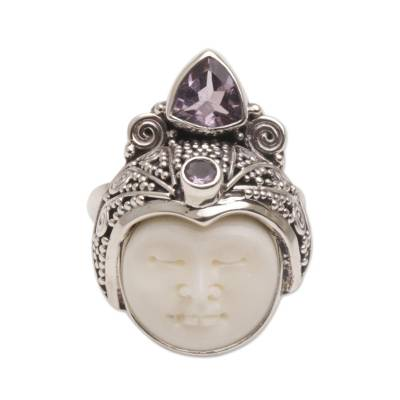Amethyst cocktail ring, 'White Knight' - Carved Bone Cocktail Ring with Amethyst Gems