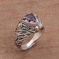 Amethyst and gold accent single stone ring, 'Deep Roots' - Sterling Silver and Amethyst Ring with 18K Gold Accents