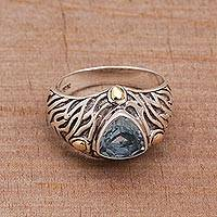 Blue topaz and gold accent single stone ring, 'Deep Roots' - Blue Topaz and Sterling Silver Ring with 18K Gold Accents