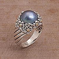 Cultured pearl cocktail ring, 'Dusky Daisy' - Blue Cultured Pearl Cocktail Ring with Floral Motifs