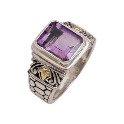 Amethyst and gold accent single stone ring, 'Purple Extravaganza' - Amethyst Gold Accent and Sterling Silver Single Stone Ring