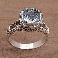 Blue topaz single stone ring, 'Resplendent Gem' - Blue Topaz and Sterling Silver Single Stone Ring