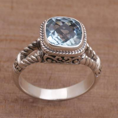 Blue topaz single stone ring, Resplendent Gem