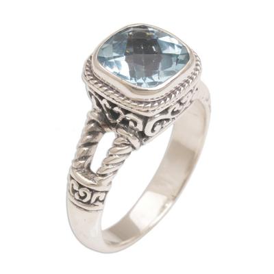 Blue topaz single stone ring, 'Resplendent Gem' - Blue Topaz and Sterling Silver Single Stone Ring