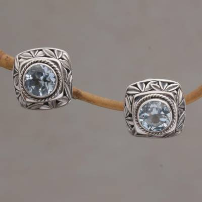 Blue topaz button earrings, 'Bamboo Shade' - Blue Topaz and Sterling Silver Button Earrings from Bali