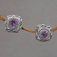 Amethyst button earrings, 'Bamboo Shade'