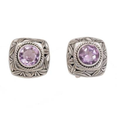 Amethyst button earrings, 'Bamboo Shade' - Amethyst and Sterling Silver Button Earrings from Bali