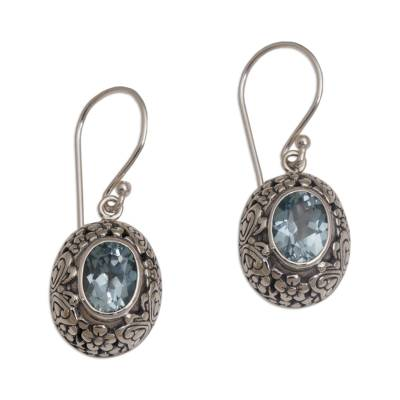 Blue topaz dangle earrings, 'Butterfly Haven' - Blue Topaz and Sterling Silver Floral Earrings from Bali
