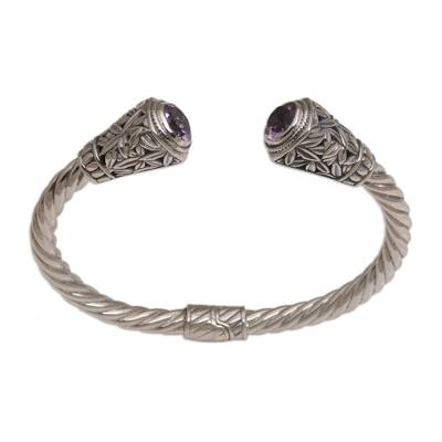 Amethyst cuff bracelet, 'Paradise Gleam' - Amethyst and Sterling Silver Cuff Bracelet from Indonesia
