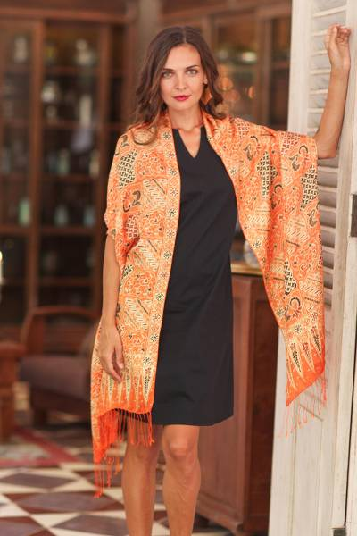 Batik silk shawl, 'Tangerine Sekar Jagad' - Batik Silk Shawl with Traditional Motifs in Tangerine