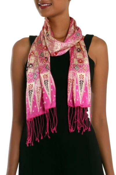 Batik silk scarf, 'Azalea Truntum' - Batik Silk Scarf with Truntum Motifs in Azalea from Bali