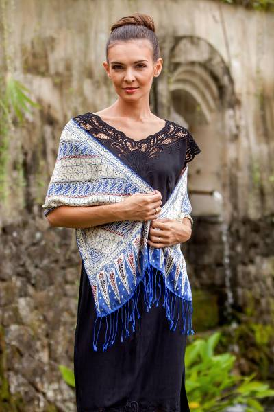 Batik silk scarf, 'Parang World in Indigo' - Batik Silk Scarf with Parang Motifs in Indigo from Bali