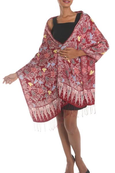 Batik silk shawl, 'Maroon Garden' - Floral Batik Silk Shawl in Maroon from Bali