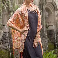 Batik silk shawl, 'Ceplok Temple in Tangerine' - Batik Silk Shawl with Ceplok Motifs in Tangerine from Bali