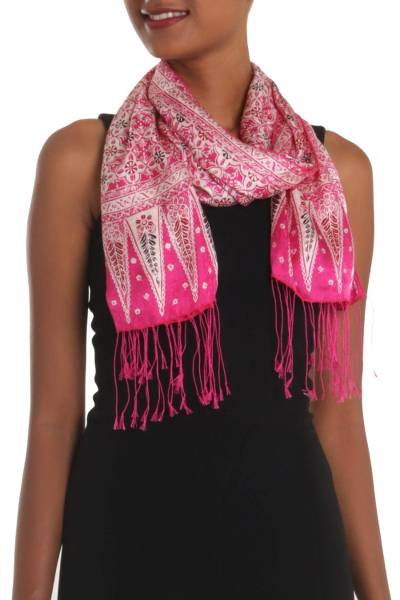 Batik silk scarf, 'Truntum World in Fuchsia' - Batik Silk Scarf with Truntum Motifs in Fuchsia from Bali