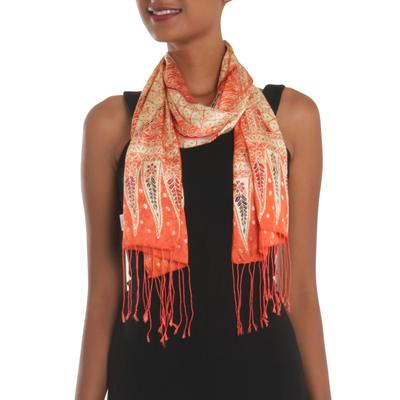 Batik silk scarf, 'Parang World in Mandarin' - Batik Silk Scarf with Parang Motifs in Mandarin from Bali