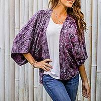 Rayon batik kimono jacket, 'Lavish Garden in Boysenberry'