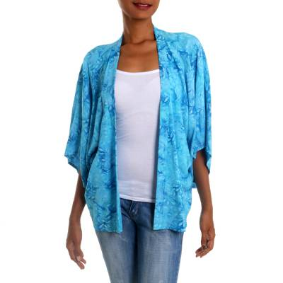 Rayon batik jacket, 'Lavish Garden in Cyan' - Open Rayon Jacket in Light Blue Batik Print Rayon