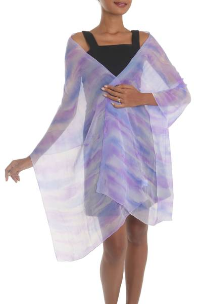 Hand-Painted Silk Shawl in Amethyst and Teal from India