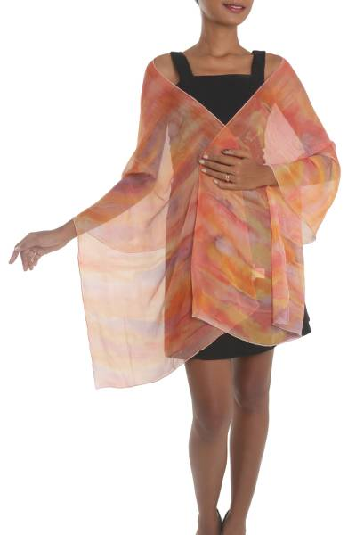 Hand-Painted Silk Shawl in Tangerine and Dusty Lilac
