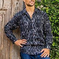 Men's cotton long-sleeved shirt, 'Rapids' - Men's Hand-Stamped Cotton Long-Sleeve Shirt from Bali