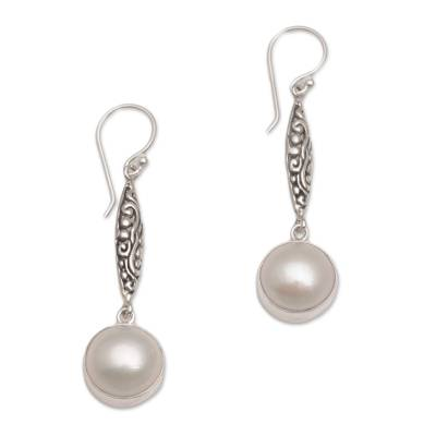 Cultured pearl dangle earrings, 'Lovely Legacy' - Sterling Silver and Cultured Mabe Pearl Dangle Earrings