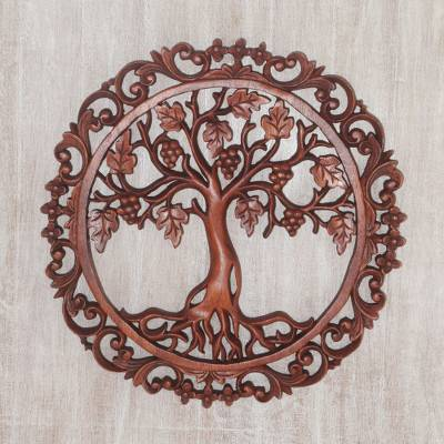 Wood wall relief panel, Grape Vine Circle