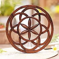 Wood wall relief panel, 'Star Mandala' - Artisan Hand-Carved Star Mandala Wall Relief Panel from Bali