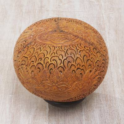 Coconut shell sculpture, 'Bhoma Majesty' - Coconut Shell Sculpture of Bhoma with Base from Indonesia