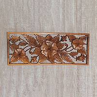 Wood wall relief panel, 'Hibiscus Mansion' - Artisan Hand-Carved Wooden Hibiscus Relief Panel from Bali