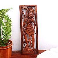 Wood relief panel, 'Shiva's Pride' - Hand-Carved Hindu Suar Wood Relief Panel from Bali