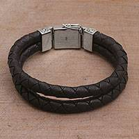 Men's leather wristband bracelet, 'Soulful Braids' - Men's Two-Strand Wristband Leather Bracelet from Bali