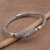 Sterling silver pendant bracelet, 'Turtle Shell' - Artisan Crafted Sterling Silver Pendant Bracelet from Bali