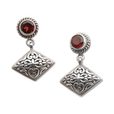 Garnet dangle earrings, 'Diamond Dew' - Garnet Dangle Earrings with Diamond Shapes from Bali