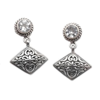 Blue topaz dangle earrings, 'Diamond Dew' - Blue Topaz Dangle Earrings with Diamond Shapes from Bali