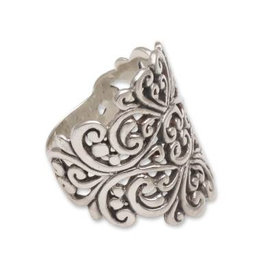 Sterling silver cocktail ring, 'Tangled in Love' - Sterling Silver Openwork Cocktail Ring from Bali