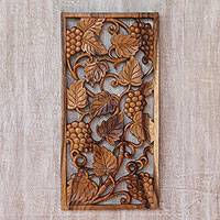 Wood relief panel, 'Succulent Grapes'