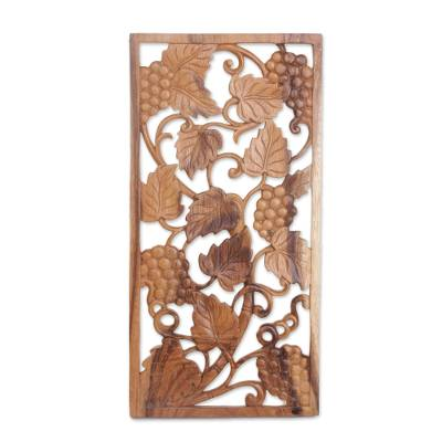 Wood relief panel, 'Succulent Grapes' - Handmade Suar Wood Grape Vine Wall Relief Panel from Bali