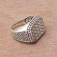 Sterling silver signet ring, 'Woven Basket' - Weave Motif Sterling Silver Signet Ring from Bali