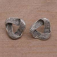 Sterling silver button earrings, 'Infinite Songket' - Cultural Sterling Silver Button Earrings from Bali