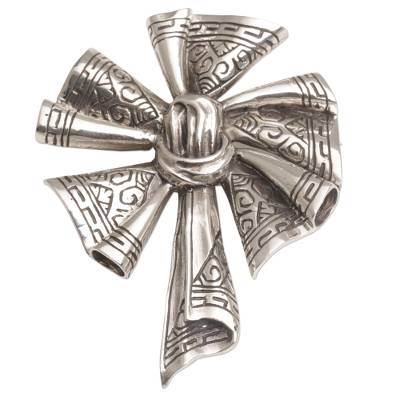 Sterling silver brooch, 'Songket Windmill' - Sterling Silver Songket Cloth Brooch from Bali