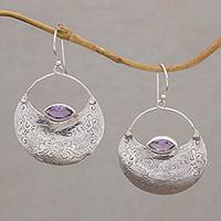 Amethyst dangle earrings, 'Barong's Flowers' - Floral Amethyst and Silver Dangle Earrings from Bali