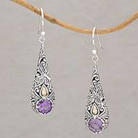 Gold accent amethyst dangle earrings, 'Monarch Drops' - Gold Accent Amethyst Butterfly Earrings from Bali