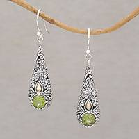 Gold-accented peridot dangle earrings, 'Monarch Drops' - Gold-accented Peridot Butterfly Earrings from Bali