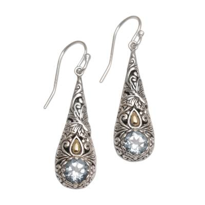 Gold accented blue topaz dangle earrings, 'Monarch Drops' - Gold Accent Blue Topaz Butterfly Earrings from Bali