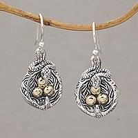Gold accented sterling silver dangle earrings, 'Fight for Survival' - Gold Accent Animal-Themed Dangle Earrings from Bali