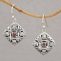 Gold accented garnet dangle earrings, 'Ketupat Blessing' - Gold Accent Garnet Dangle Earrings from Bali